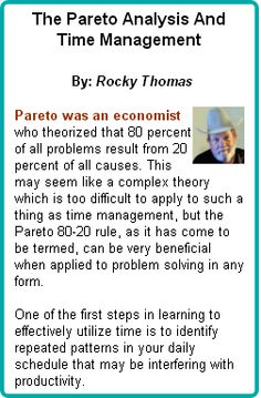 Pareto was an economist who theorized that 80 percent of all problems result from 20 percent of all causes. This may seem like a complex theory which is too difficult to apply to such a thing as time management, but the Pareto 80-20 rule, as it has come to be termed, can be very beneficial when