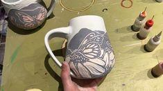 pottery painting designs Glazing a sgraffito butterfly mug Glazes For Pottery, Pottery Mugs, Ceramic Pottery, Pottery Art, Ceramic Techniques, Pottery Techniques, Sgraffito, Pottery Painting Designs, Ceramic Glaze Recipes