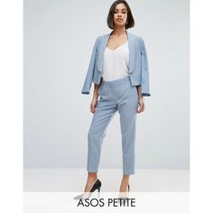 ASOS PETITE Ankle Grazer Cigarette Pants in Crepe (€35) ❤ liked on Polyvore featuring pants, capris, blue, petite, zipper trousers, cigarette trousers, blue high waisted pants, high-waisted pants and petite pants