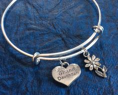 Grand Daughter Charm Silver Bangle Silver Adjustable Wire Bangle Charm Bracelet Expandable Trendy (Kid's Size Available upon request)