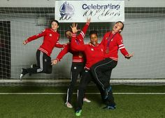 Christine Sinclair, Karina LeBlanc, Diana Matheson and Rhian Wilkinson