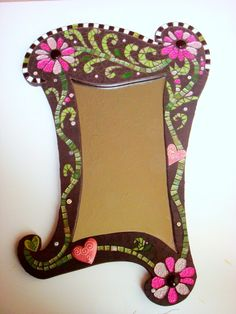 Treat yourself, (or a friend) to this highly unusual large mirror! Made on an MDF board using matt black ceramic tiles, two shades of pink pearl effect glass tiles, various shad. Mirror Mosaic, Mosaic Art, Mosaic Glass, Glass Art, Mirror Mirror, Stained Glass, Mosaic Crafts, Mosaic Projects, Teapots Unique
