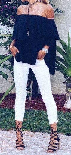 #summer #outfits black off the shoulder top