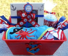 Sea Baby Shower Deluxe Baby Boy Gift Basket / READY TO SHIP / Pirate Baby Shower Theme / Under the Sea Baby Gift Ideas / Little Man Shower by ColorfulBows on Etsy  www.colorfulbows.com