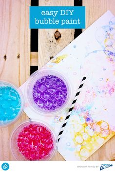 Easy DIY Bubble Paint: Take painting to a whole new level with soapy bubbles and straws. Kids L-O-V-E this DIY!