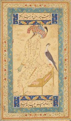 A Seated Youth Putting on a Falconer's Glove as His Pet Falcon Sits on His Knee   Read Persian Album   Herat, Afghanistan   ca. 1600   The Morgan Library & Museum
