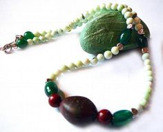 The Call of The Alps - Necklace / Green Opal , Red Jasper , Green Agate and a Shaman´s Stone by earthlifeshop, $89.00 USD