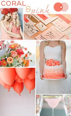 Coral and Pink Wedding inspiration on Squirrelly Minds