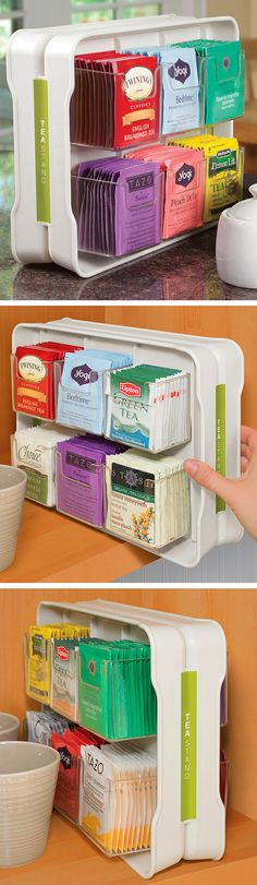 Tea Stand // organizer caddy that holds 100 tea bags! Genius... #product_design