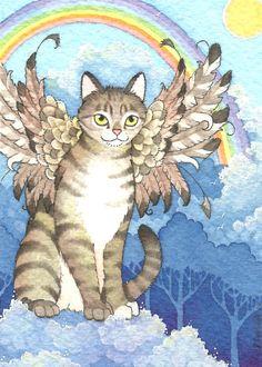 ACEO print Rainbow Bridge Tabby Cat Angel Kitty Heaven