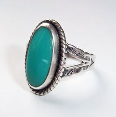 Vintage Navajo Artist Signed Sterling and Turquoise Ring - Jane Yikaazba Popovitch Jewelry - Native American Silver - Southwestern Sterling