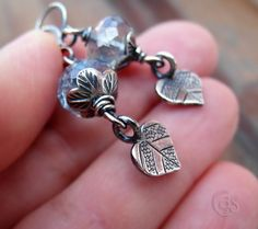 Leaf Earrings Blue Petal Leaves Autumn by ArtandSoulJewelry, $29.00