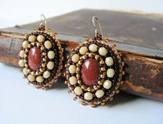 Brown Beige Earrings Gold stone Earrings Beadwork earrings Bead embroidery jewelry Brown Beige MADE TO ORDER by MisPearlBerry on Etsy