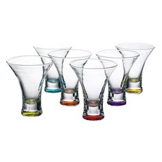 6 Piece Samantha Martini Glass Set // welcome to my current obsession with coloured glassware. why? they are so practical - every guest picks a colour and no one forgets which glass belongs to who! #productdesign #designinspiration
