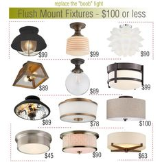 No more boob lights: Flush Mount Fixtures $100 or less by cwall, via Polyvore