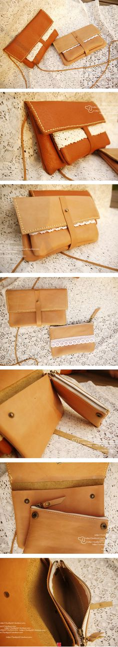Leather and lace pouch // bolsito piel y encaje