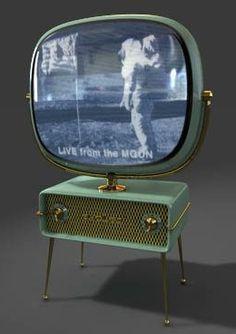 Vintage space age television set (1950's). Vintage Television, Television Set, Vintage Space, Vintage Tv, Tv On The Radio, Mid Century Furniture, Googie, Atomic Age, Old Tv