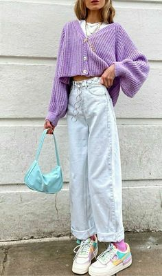 Korean Fashion Name .Korean Fashion Name Retro Outfits, Tomboy Outfits, Cute Casual Outfits, Purple Outfits, Vintage Summer Outfits, Purple Cardigan Outfits, Grunge Outfits, Spring Outfits, Winter Outfits