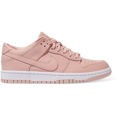 Nike Quickstrike Dunk leather sneakers (€120) ❤ liked on Polyvore featuring shoes, sneakers, nike, pink jersey, pink sneakers, lace up shoes and perforated sneakers