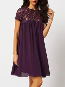 Purple Crew Neck With Lace Shift Dress US$19.99