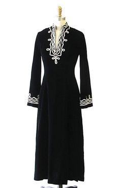 Vintage 1970's Velvet Kaftan Style Dress I.Magnin by lovestreetsf