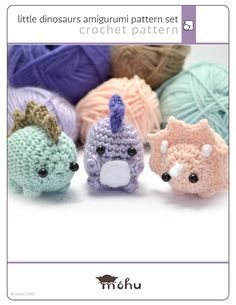 amigurumi dinosaurs crochet pattern set - written crochet pattern  $5.50 in Mohu's etsy shop