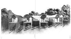 """Aldo Rossi, Gianni Braghieri, Villa, Borgo Ticino, 1973 (Casa en Borgo Ticino, in """"2c: Construccion de la ciudad"""", Barcelona, Grupo 2c, 1975, n. 2, pp. 20-21)"""
