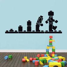 Gratis verzending lego evolutie sticker, muursticker, lego vinyl kunst aan de muur, stencil voor kinderen kamer, decoratieve cartoon, #t60(China (Mainland))