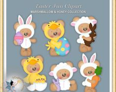 Easter Clipart, Teddy Bears, Easter Fun, Marshmallow and Honey Bear Clipart, Cute Clipart, Calendar Stickers, Christmas Clipart, Blog Design, Cool Costumes, Paper Piecing, Marshmallow, Paper Dolls