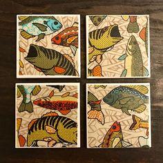 Coasters  Fish   Largemouth Bass  Handmade Ceramic Tile
