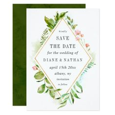 Watercolor Floral Wild Green Foliage Save the Date Card - summer wedding diy marriage customize personalize couple idea individuel
