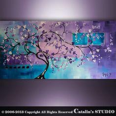Original Modern Landscape Asian Zen Tree Blossom by Catalin, $199.00