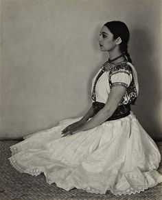 The dancer and choreographer Rosa Covarrubias in native Mexican attire  - Cholula Costume, 1926. by  Edward Weston