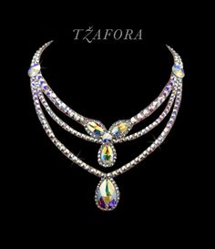 """If I Had You"" - Swarovski ballroom necklace. Fairy Jewelry, Beaded Jewelry, Jewelry Necklaces, Dance Accessories, Jewelry Accessories, Bold Jewelry, Jewelry Design, Ballroom Dance Dresses, Ballroom Dancing"