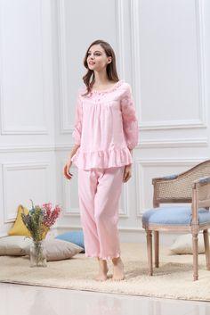 #Womens #Pajamas #Cotton #Sleepwear  #TwoPiecesSets #HomeService #Soft #Bedwear #SevenPointsSleeves