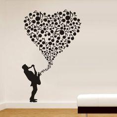 DIY Jazz Saxophone Play Love Song Wall Sticker Art Decals Room Hall Home Ballroom Bar Decor