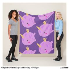 Purple Narwhal Large Pattern Fleece Blanket Picnic In The Park, Edge Stitch, Outdoor Events, Cuddling, Keep It Cleaner, Plush, Delicate, Kids Rugs, Comfy