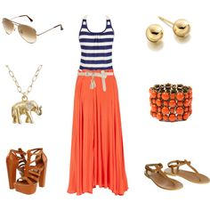 Complimentary Colors: Blue and Orange, created by sandratorres on Polyvore