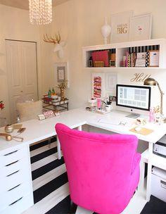 L Shape Desk Ikea Hack Gold white and Magenta office decor