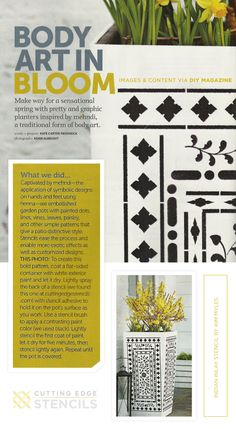 A stenciled flower pot spotted in DIY Magazine using the Indian Inlay Stencil Kit. http://www.cuttingedgestencils.com/indian-inlay-stencil-furniture.html