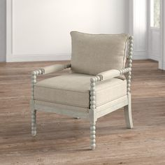 Spool Chair, Spindle Chair, White Living Room Chairs, Living Room Decor, Farmhouse Chairs, Farmhouse Decor, Little White House, Chair Upholstery, Cozy House