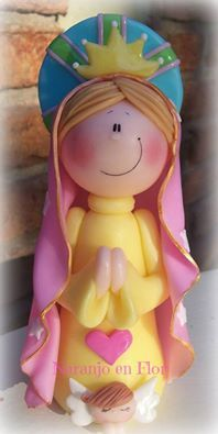 Virgencita .- Cute Polymer Clay, Polymer Clay Crafts, Polymer Clay Creations, Diy Clay, Porcelain Insulator, Cake Templates, Salt Dough Ornaments, Baking Clay, Christmas Clay