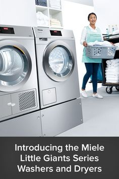 The new Little Giants Series from Miele is a high-performance selection of high-end washers and dryers that bring commercial-grade quality to any home, business or office they are used in. These powerful, long-lasting unit are ideal for everything from large families who frequently wash clothes to cruise ships powering through hundreds of rooms worth of laundry daily. Laundry Decor, Laundry Room Design, Laundry Appliances, Home Appliances, Best Washer Dryer, Miele Kitchen, Stainless Steel Drum, Heat Pump System, Large Families