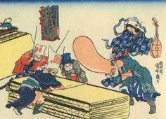 <福禄寿あたまのたわむれ 大掃除 : FUKUROKUJU ATAMANOTAWAMURE OOSOUJI> CLEANING WITH FUKUROKUJU'S BIG HEAD KUNIYOSHI UTAGAWA 1798-1861 Last of Edo Period