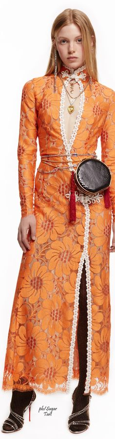 Alessandra Rich Fall 2016 orange dress women fashion outfit clothing style apparel @roressclothes closet ideas