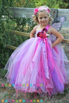 Fairy Costume Tutu Dress 12months-5t  flower girl, wedding, Fairy Halloween Costume. $95.00, via Etsy.