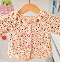 Fun Shell and Cluster Baby Cardigan Crochet pattern by Mon Petit Violon Crochet Baby Sweaters, Crochet Cardigan Pattern, Crochet Baby Clothes, Lace Cardigan, Sleeveless Cardigan, Baby Patterns, Crochet Patterns, Pull Bebe, Baby Pullover