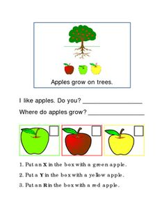 Apples Following Directions, Comprehension, Emergent Reader Printable. Write In Each Box, Answer Questions. 2 pages.Common Core Worksheet Printable. Math, Basic Operations, Numbers, Math-Center Idea. Great for the classroom or homework.Please check out more fun fantastic bargains:https://www.teacherspayteachers.com/Store/Word-Masters