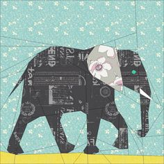"Elephant- 12"" & 24"" Paper Pieced Pattern - the first of many elephants for same by the Tartan Kiwi.  lots more paper patterns at https://www.pinterest.com/yrauntruth/quilt-paper-piecing-foundation-piecing/"