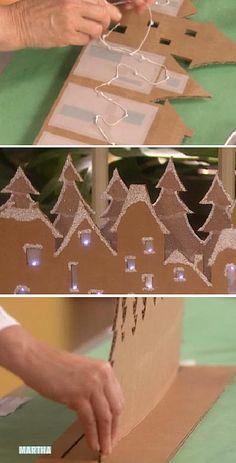 Новогодняя деревня из картона